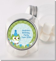 Owl Birthday Boy - Personalized Birthday Party Candy Jar