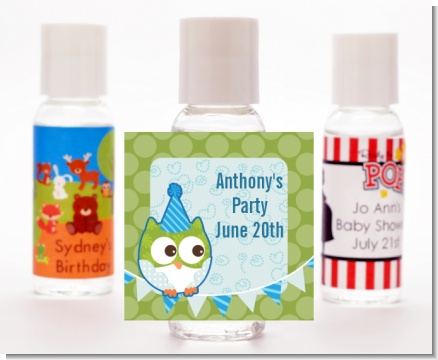 Owl Birthday Boy - Personalized Birthday Party Hand Sanitizers Favors