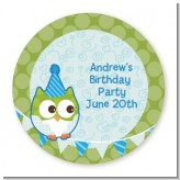 Owl Birthday Boy - Round Personalized Birthday Party Sticker Labels