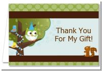 Owl Birthday Boy - Birthday Party Thank You Cards