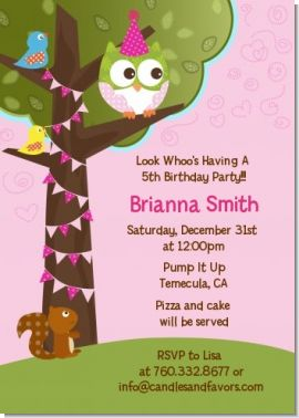 Owl Birthday Girl - Birthday Party Invitations