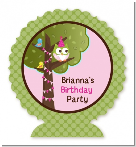 Owl Birthday Girl - Personalized Birthday Party Centerpiece Stand