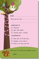 Owl Birthday Girl - Birthday Party Fill In Thank You Cards