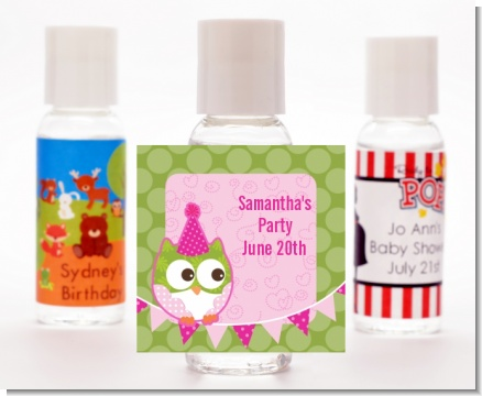 Owl Birthday Girl - Personalized Birthday Party Hand Sanitizers Favors