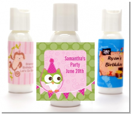 Owl Birthday Girl - Personalized Birthday Party Lotion Favors