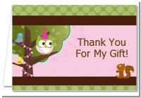 Owl Birthday Girl - Birthday Party Thank You Cards