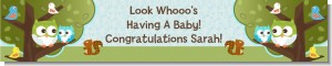 Owl - Look Whooo's Having A Boy - Personalized Baby Shower Banners