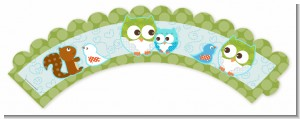 Owl - Look Whooo's Having A Boy - Baby Shower Cupcake Wrappers