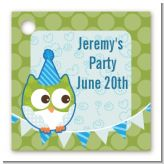 Owl Birthday Boy - Personalized Birthday Party Card Stock Favor Tags