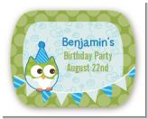 Owl Birthday Boy - Personalized Birthday Party Rounded Corner Stickers