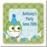 Owl Birthday Boy - Square Personalized Birthday Party Sticker Labels