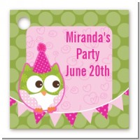 Owl Birthday Girl - Personalized Birthday Party Card Stock Favor Tags
