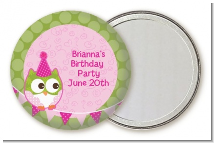 Owl Birthday Girl - Personalized Birthday Party Pocket Mirror Favors