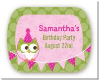 Owl Birthday Girl - Personalized Birthday Party Rounded Corner Stickers