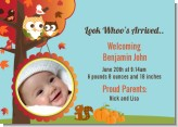 Owl - Fall Theme or Halloween - Birth Announcement Photo Card