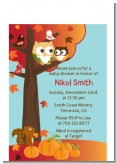 Owl - Fall Theme or Halloween - Baby Shower Petite Invitations