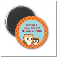 Owl - Fall Theme or Halloween - Personalized Baby Shower Magnet Favors