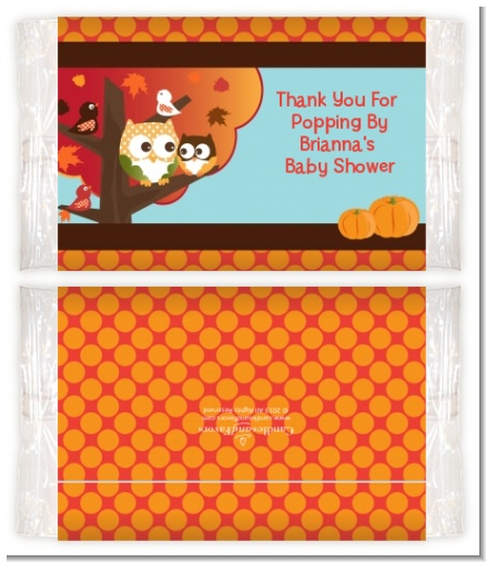 Owl - Fall Theme or Halloween - Personalized Popcorn Wrapper Baby Shower Favors