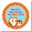 Owl - Fall Theme or Halloween - Round Personalized Baby Shower Sticker Labels thumbnail
