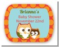 Owl - Fall Theme or Halloween - Personalized Baby Shower Rounded Corner Stickers thumbnail