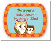 Owl - Fall Theme or Halloween - Personalized Baby Shower Rounded Corner Stickers