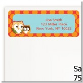 Owl - Fall Theme or Halloween - Baby Shower Return Address Labels