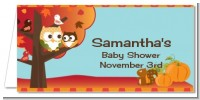 Owl - Fall Theme or Halloween - Personalized Baby Shower Place Cards