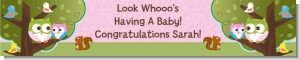 Owl - Look Whooo's Having A Girl - Personalized Baby Shower Banners