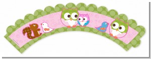 Owl - Look Whooo's Having A Girl - Baby Shower Cupcake Wrappers
