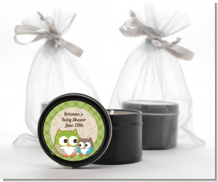 Owl - Look Whooo's Having A Baby - Baby Shower Black Candle Tin Favors