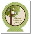 Owl - Look Whooo's Having A Baby - Personalized Baby Shower Centerpiece Stand thumbnail