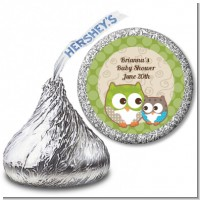 Owl - Look Whooo's Having A Baby - Hershey Kiss Baby Shower Sticker Labels