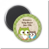 Owl - Look Whooo's Having A Baby - Personalized Baby Shower Magnet Favors