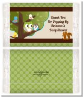 Owl - Look Whooo's Having A Baby - Personalized Popcorn Wrapper Baby Shower Favors