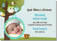 Owl - Look Whooo's Having A Boy - Birth Announcement Photo Card