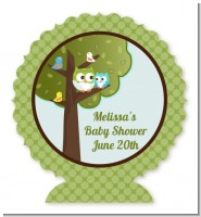Owl - Look Whooo's Having A Boy - Personalized Baby Shower Centerpiece Stand