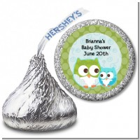 Owl - Look Whooo's Having A Boy - Hershey Kiss Baby Shower Sticker Labels