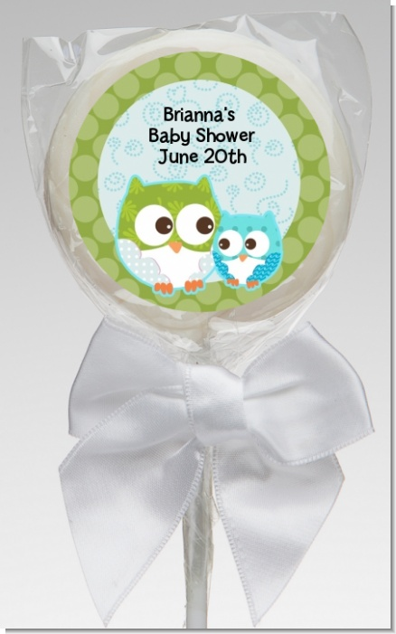 Owl - Look Whooo's Having A Boy - Personalized Baby Shower Lollipop Favors