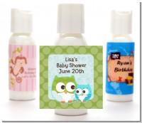 Owl - Look Whooo's Having A Boy - Personalized Baby Shower Lotion Favors