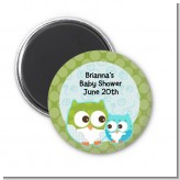 Owl - Look Whooo's Having A Boy - Personalized Baby Shower Magnet Favors