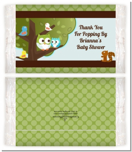 Owl - Look Whooo's Having A Boy - Personalized Popcorn Wrapper Baby Shower Favors