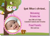 Owl - Look Whooo's Having A Girl - Birth Announcement Photo Card