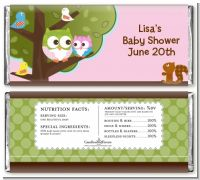 Owl - Look Whooo's Having A Girl - Personalized Baby Shower Candy Bar Wrappers