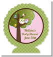Owl - Look Whooo's Having A Girl - Personalized Baby Shower Centerpiece Stand thumbnail