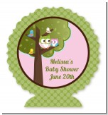 Owl - Look Whooo's Having A Girl - Personalized Baby Shower Centerpiece Stand