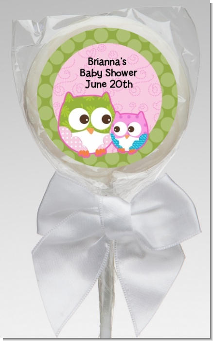 Owl - Look Whooo's Having A Girl - Personalized Baby Shower Lollipop Favors