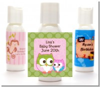 Owl - Look Whooo's Having A Girl - Personalized Baby Shower Lotion Favors