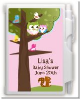 Owl - Look Whooo's Having A Girl - Baby Shower Personalized Notebook Favor