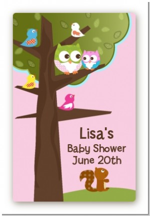 Owl - Look Whooo's Having A Girl - Custom Large Rectangle Baby Shower Sticker/Labels