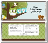 Owl - Look Whooo's Having Twin Boys - Personalized Baby Shower Candy Bar Wrappers